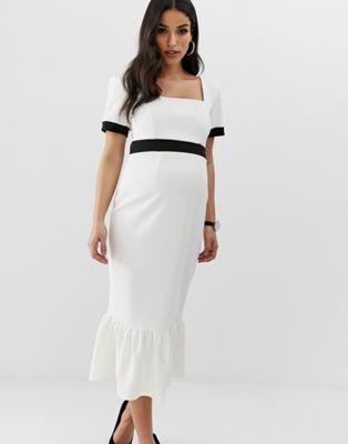31c900873dcd1 DESIGN Maternity mono rib midi dress with pep hem | Clothes ...