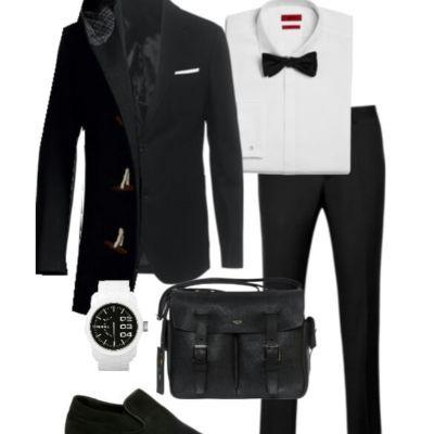черный мужской костюм лук