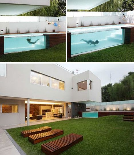 wood patio with above ground swimming pool by andres remy architects...for when you want to feel like Orca.