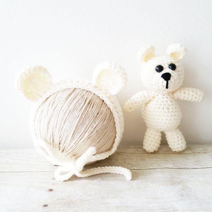 Props Newborn Amigurumi Urso com Touca em crochê Newborn Meninos e Meninas  Conjuntos para Fotografia   0d1ed7beb8b
