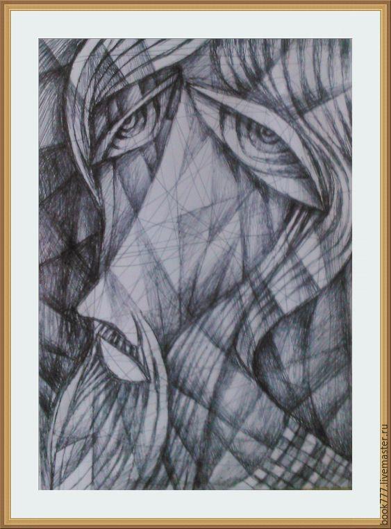 Купить Кротости, смиренью должно научиться - темно-серый, авторская ручная работа, картина