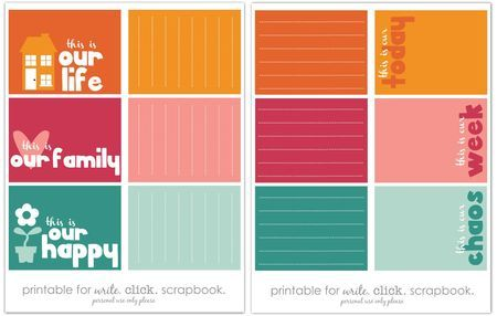 Freebies - write.click.scrapbook: Projects Life Free, Printable Journals, Life Cards, Journals Cards, Scrapbook Projects, Families Title, Free Printable Cards, Journal Cards, Printable Cuti