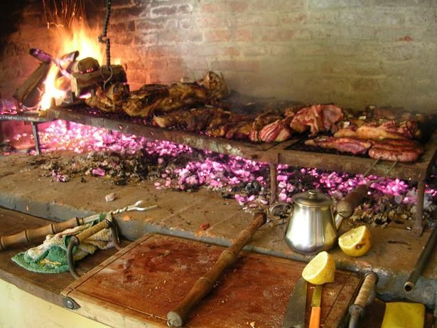 Uruguay typical asado...bbq meats cooked over wood coals. Party food!