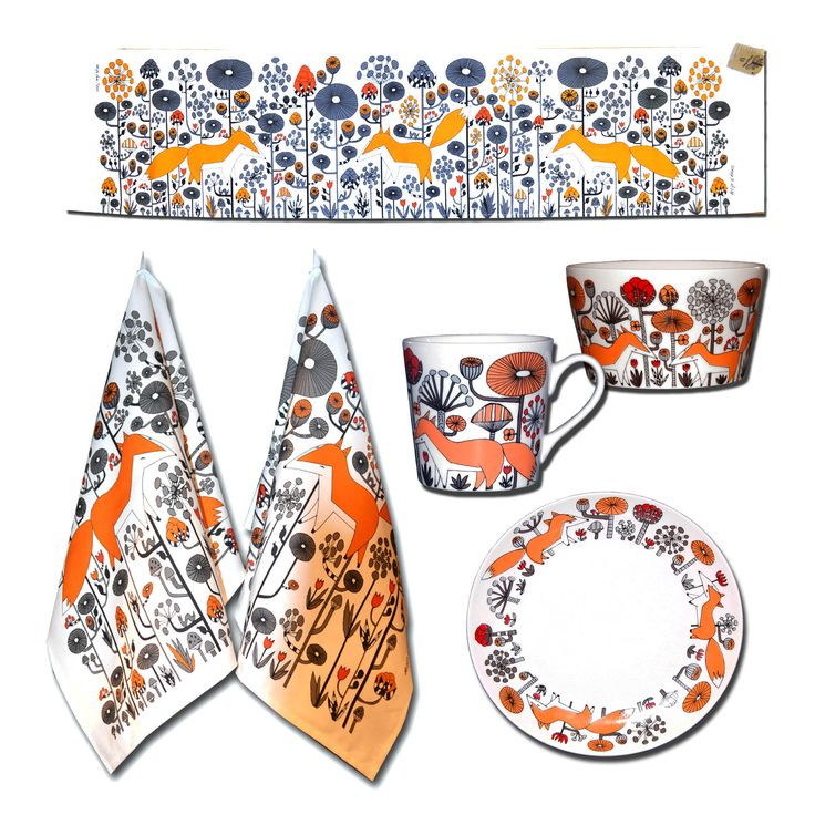 Modern retro design textile and porcelain by Anna Strom Fabelskog Kind foxes Scandinavian style www.fabelskog.no