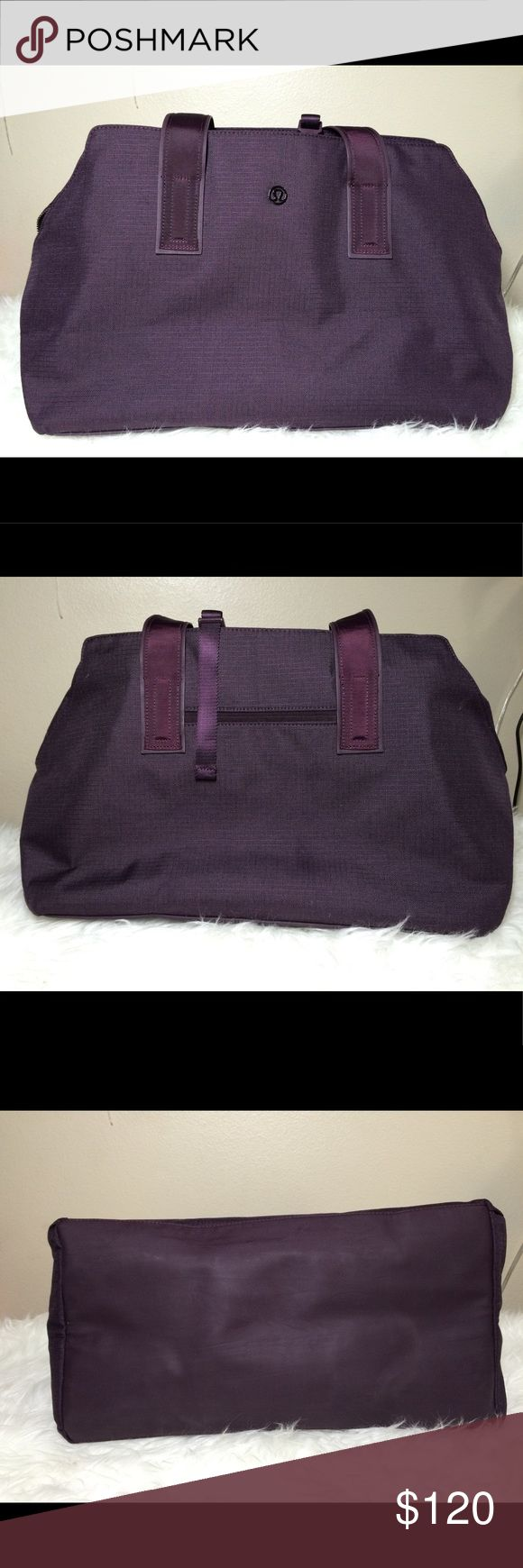 """•LIKE NEW• Lululemon Go Getter Bag Lululemon Go Getter Bag  • Pre-loved, barely used, like new excellent condition  • Still selling in stores for full price  • Includes heat-resistant pocket for hair straightener and shoe bag  • Exterior zippered  pocket • Stowable straps  • Tested to hold 22kg (50 lbs)  • Laptop pocket fits 15""""  • Dimensions: 43cm X 23cm X 30cm (17"""" X 9"""" 12"""") • Material: Polyester, polyurethane (easy to wipe clean) • Color: Heathered Black Cherry  • No trades or off-site…"""