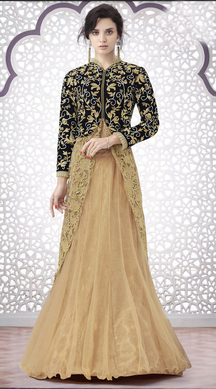 Lovely Net Long Top Style Lehenga Suit for Reception Wear in