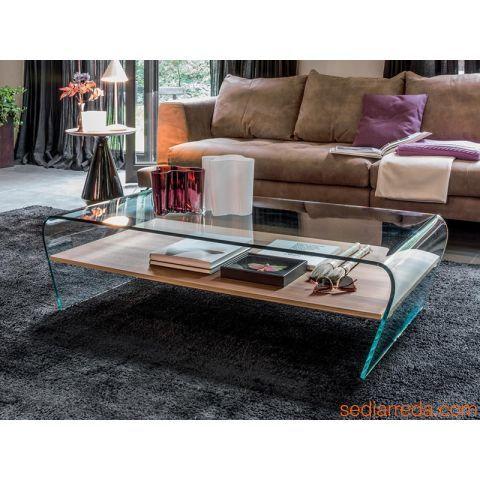 Amaranto 6811 - Table basse en verre avec étagère en bois en finition noyer Canaletto