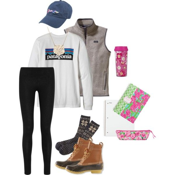 Finals! by gracesays on Polyvore featuring polyvore, fashion, style, Patagonia, Donna Karan, J.Crew, L.L.Bean, Moon and Lola and Lilly Pulitzer