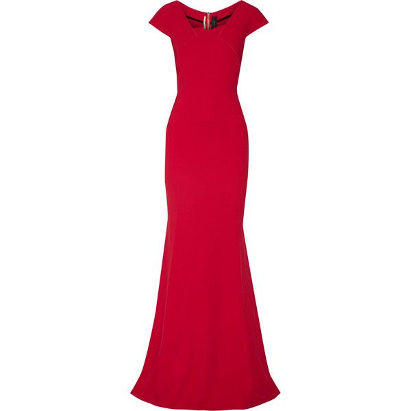 Roland Mouret Sitobion crepe gown ($1,488) via Polyvore featuring dresses, gowns, red, crepe dress, zipper dress, red evening gowns, slim fit dress and red gown