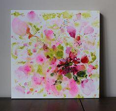 pintura de la flor roja rosa verde abstracto pintura por artbyoak1
