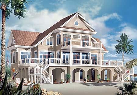 Vacation Beach House Plan - 21638DR | Beach, Florida, Vacation, Canadian, Metric, 1st Floor Master Suite, CAD Available, Elevator, Media-Game-Home Theater, PDF | Architectural Designs