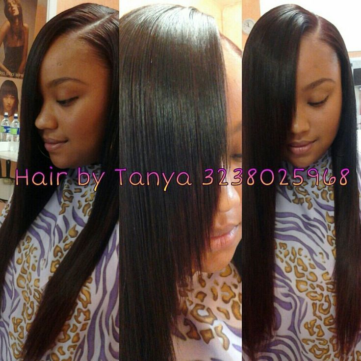 hairstyles without bangs : Laid Side Part Sew In by Tanya Hair Pinterest Her hair ...
