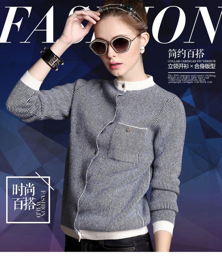 Panjang wanita bisbol Kitted Sweater kasmir sweter kardigan, Perempuan musim gugur musim dingin setengah Turtleneck merek baru kasual Cardigan biru 2016