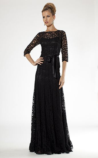 Black Evening Gown With Lace Overlay | Teri Jon