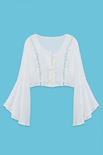 White Lace-up Crop Top with Bell Sleeves - US$15.95 -YOINS