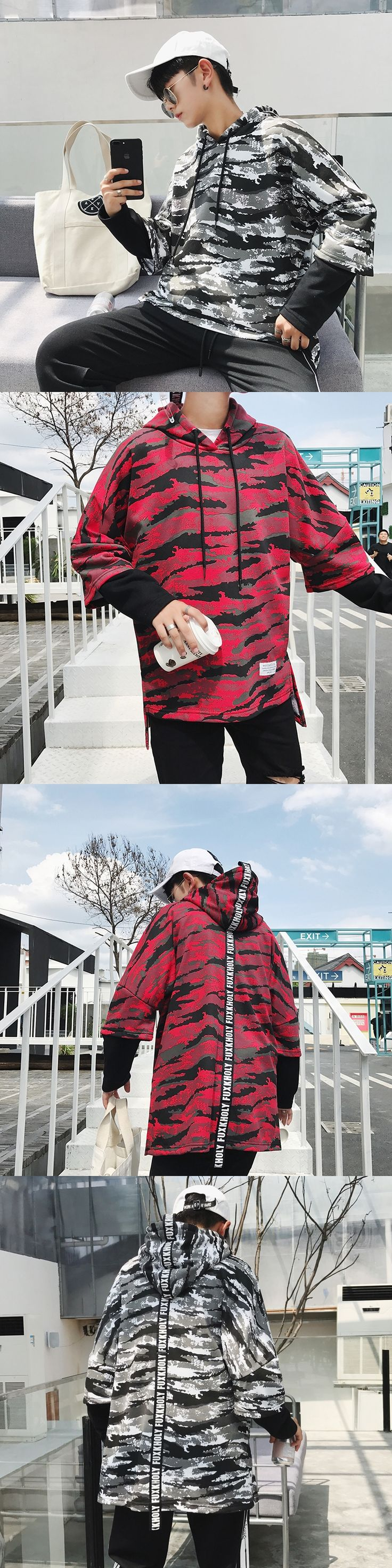 2017Autumn New lovers student camouflage coats Loose men popular fashion causal brand cotton hoodies Hip-hop style clothes M-5XL