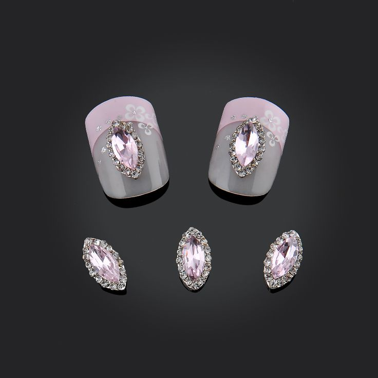 DIY 10pcs/pack 3d Nail Charms Marquise Purple Rhinestones Nail Art Decorations Alloy Jewelry Nails Tips Tools Free Shipping