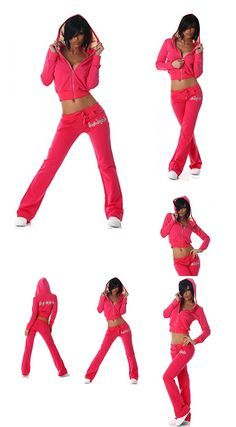4251092807152 | #Jela #London #Damen #Jogginganzug #Jacke  #038; #Hose mit #Kapuze, #pink #Größe #32 #34