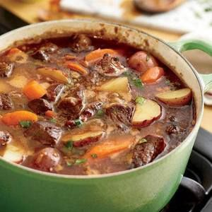 Beef Stew- The meat should fall apart if you just look at it. And the thicker, more flavorful the sauce, the better.