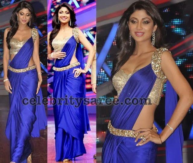 Shilpa-shetty-trendy-blue-saree