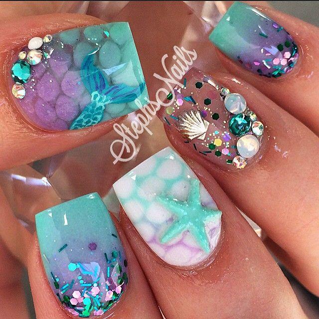 Mermaid Nail Art Acrylic Nails: Too Cute, Ps And