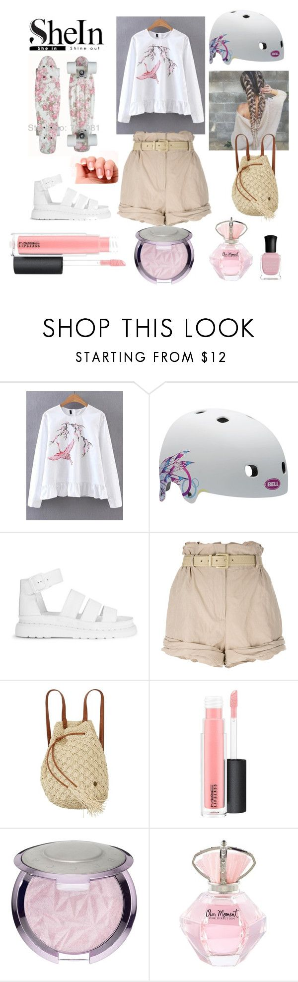 """прекрасная скейтбордистка"" by huohu ❤ liked on Polyvore featuring WithChic, Dr. Martens, Moschino, Billabong, MAC Cosmetics, Deborah Lippmann and skateboarding"