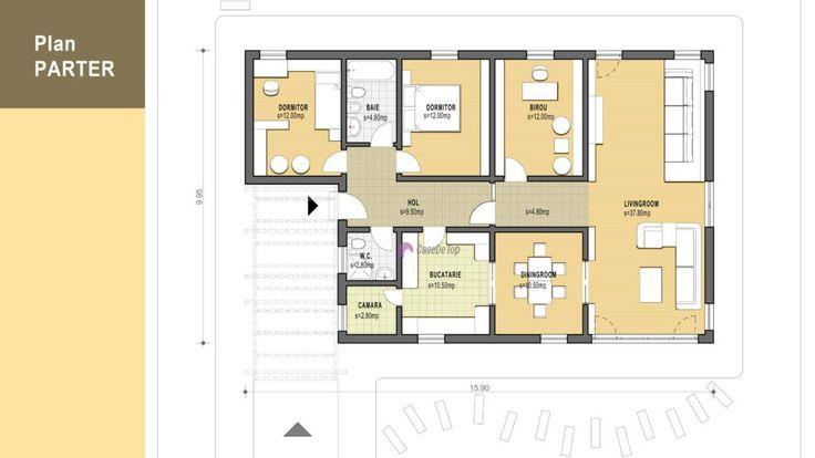 Locuința unifamiliala moderna Tetris- Plan parter| Modern single-family dwelling 140.00 sq.m-  Ground floor plan| Etichete: proiecte case, proiecte case mici, proiecte case mici parter, case mici, proiecte case moderne, case moderne