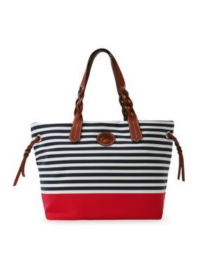 Dooney & Bourke  Stripe Nylon Sullivan Shopper - Navy Red - One Size