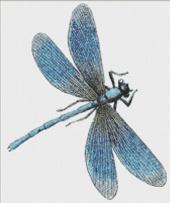 Blue Dragonfly Cross Stitch Pattern, Instant Digital Download Counted Cross Stitch Chart, Needlework Pattern, Embroidery Pattern