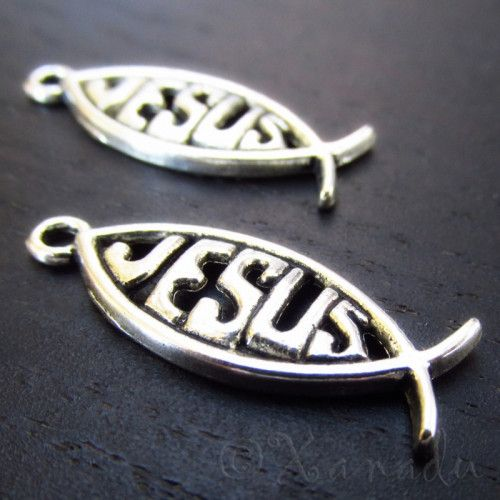 Jesus Fish Wholesale Christian Ichthys Charms C4253 - 10/20/50