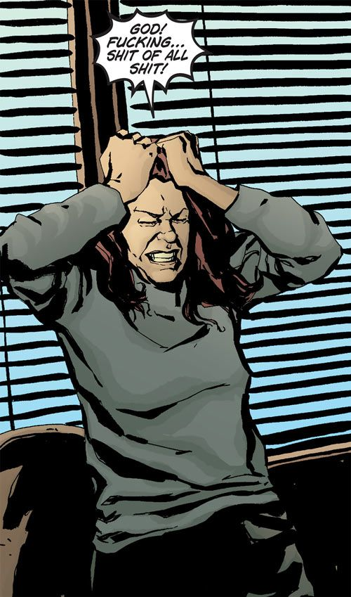 #JessicaJones (Marvel Comics) pissed off. From http://www.writeups.org/jessica-jones-alias-marvel-comics-bendis/