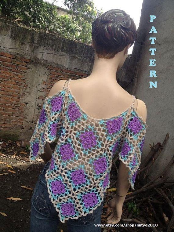 DESCARGA INSTANTÁNEA Cielo Azul Poncho túnica de la blusa por NatalieSpot