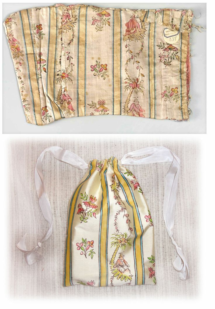 The painted bag is a reproduction of an extant item in the Boston Museum of Art (accession #43.696b). The deconstructed drawstring bag is hand-painted Chinese silk.
