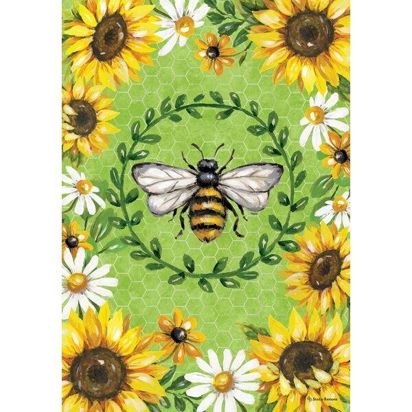 Bumblebees And Sunflower 2 Sided Polyester 40 X 28 In House Flag In 2020 Sunflower House Bee Garden Garden Flags