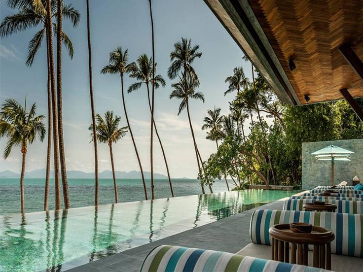 Stunning vistas from the resort pool at the Four Seasons Koh Samui resort