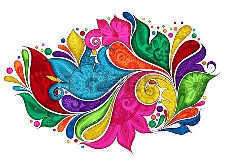 Цветочный: Вектор Цветные цветочные фон. Рисованной орнамент с цветами. Шаблон для поздравительных открыток