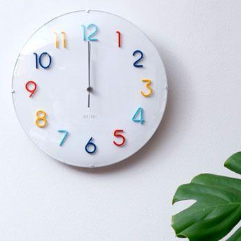 掛け時計電波時計IDEAイデア電波ラウンドウォールクロックカラフルLCR113-CF壁掛け時計おしゃれデザイン電波掛時計