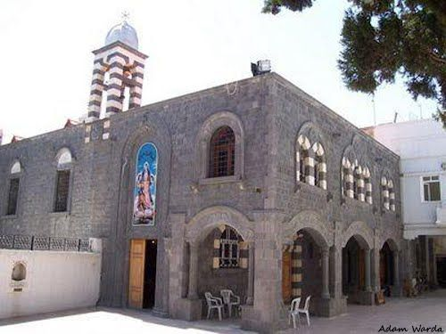 Saint Mary Church of the Holy Belt (كنيسة أم الزنار; Um az-Zinnar) Syriac Orthodox Church in Homs, Syria, built over cryot from 50 AD (seat of Syriac Orthodox archbishopric). A relic venerated as Cincture of the Theotokos  http://en.wikipedia.org/wiki/St._Mary_Church_of_the_Holy_Belt