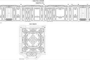 Дизайн-проект спальня в стиле барокко. План плафона и развертки стен
