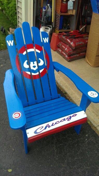 Custom Hand Painted Cubs Adirindack Chair AJ. Chicago Cubs GiftsChicago  BearsSports ...