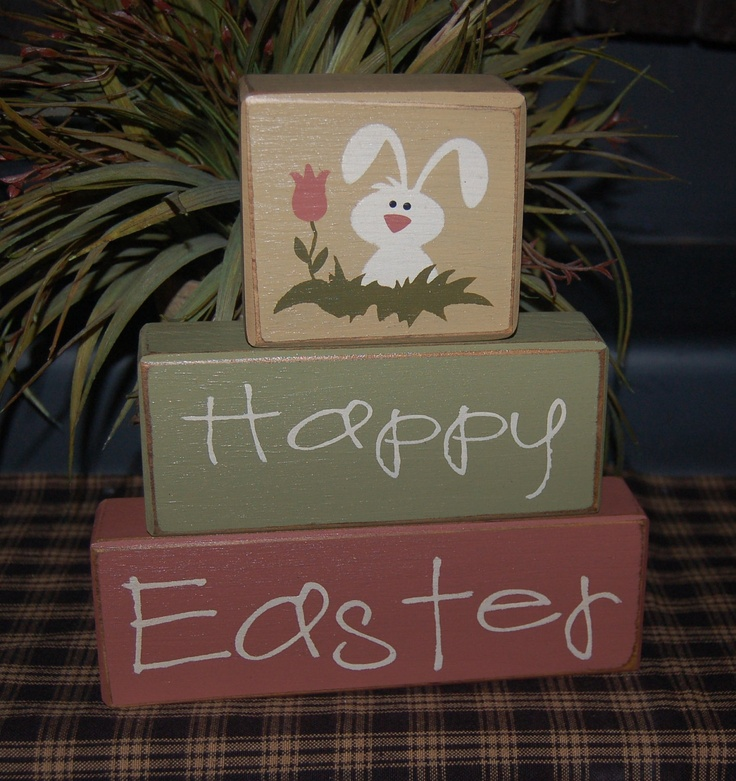 HAPPY EASTER Tulip Bunny Wood Sign Shelf Blocks Primitive Country Rustic Seasonal Holiday Home Decor Gift. $26.95, via Etsy.