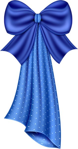 Large Blue Dotty Bow Clipart