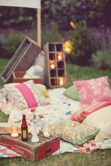 Trädgårds picknick