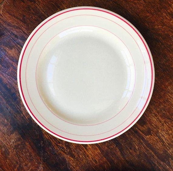 Vintage Dessert Plate Triple Red Lines Light Tan Inca Ware Diner Classic Restaurant Ware Rim Rol Shenango China Vintage Dessert Restaurant Dishes Plates