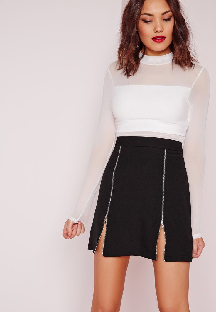 For a killer everyday look, you need this zip detail A line skirt. In ever stylish black, this little number will ensure you stand out from the crowd. Featuring back zip fastening and zip detail on the front, pair with a ribbed roll neck an...