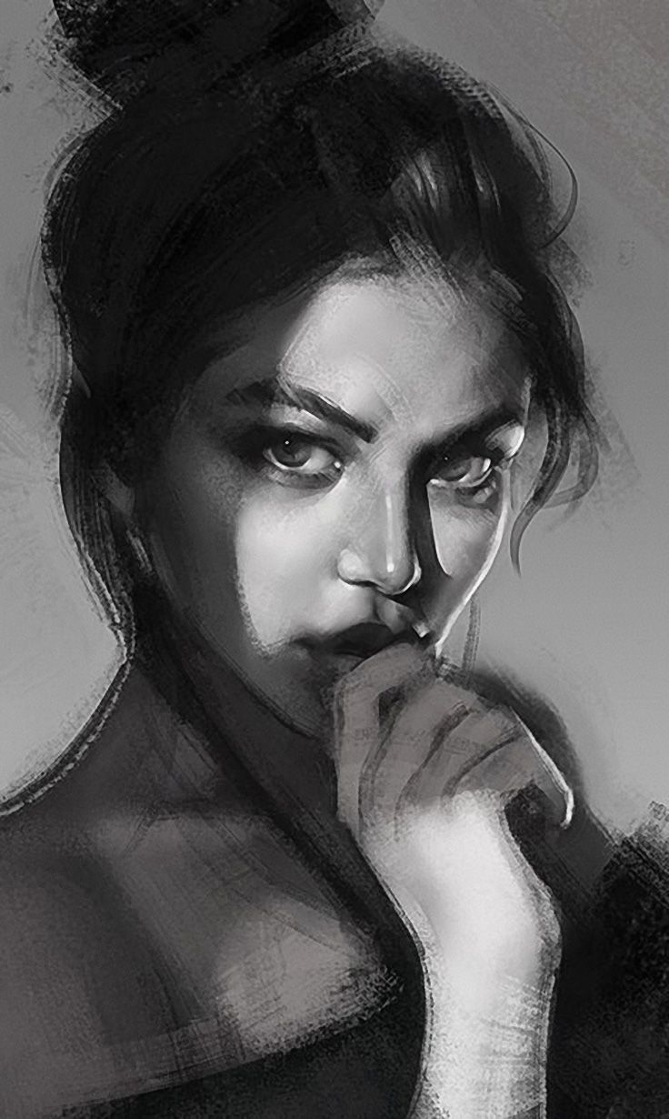 """Shadows"" - Ramón Nuñez {beautiful female head monochrome woman face portrait digital painting}"