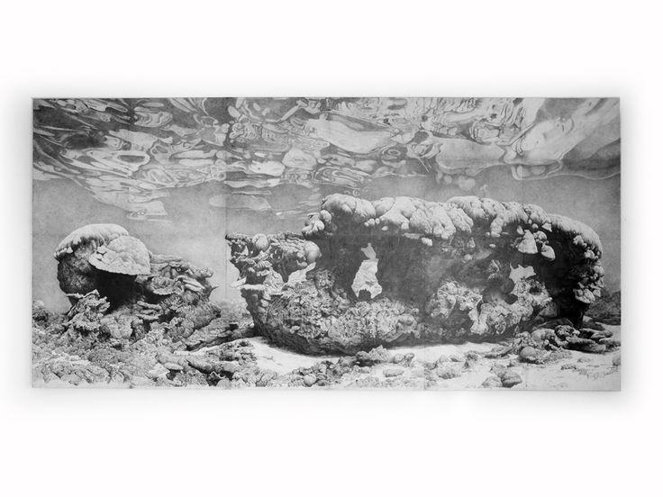 Roger Swainston drawn under water in WA - graphite.