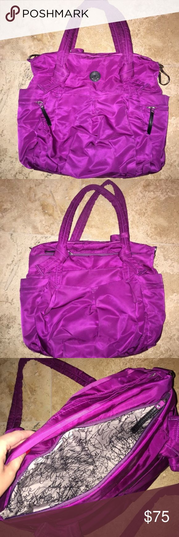 Lululemon Purple Tote Bag Cutest durable nylon feeling lululemon tote bag!!! Amazing bright purple color. Great condition, just a few unnoticeable imperfections on the bottom of the bag. Looks new & can fit a lot of stuff! lululemon athletica Bags Totes