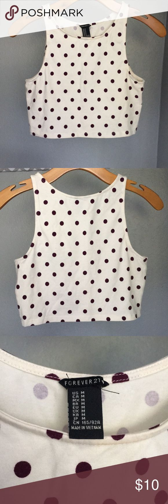 Cream and burgundy polka dot crop top Cream and burgundy polka dot crop top from Forever 21. Runs small that's why I got a size M. In good condition. Forever 21 Tops Crop Tops