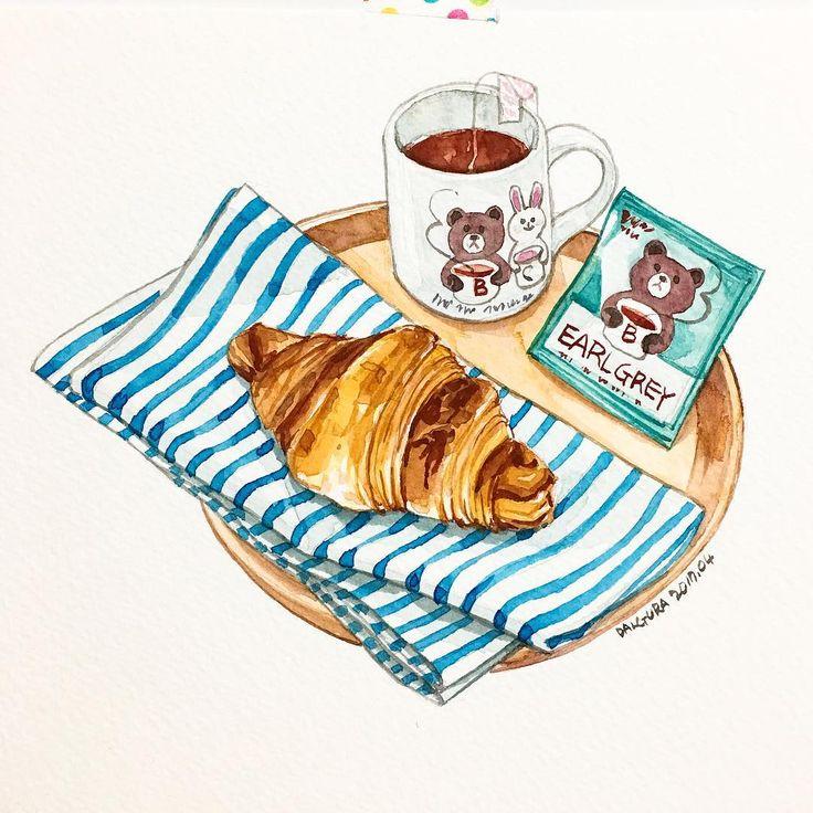 tea & croissant; illustration